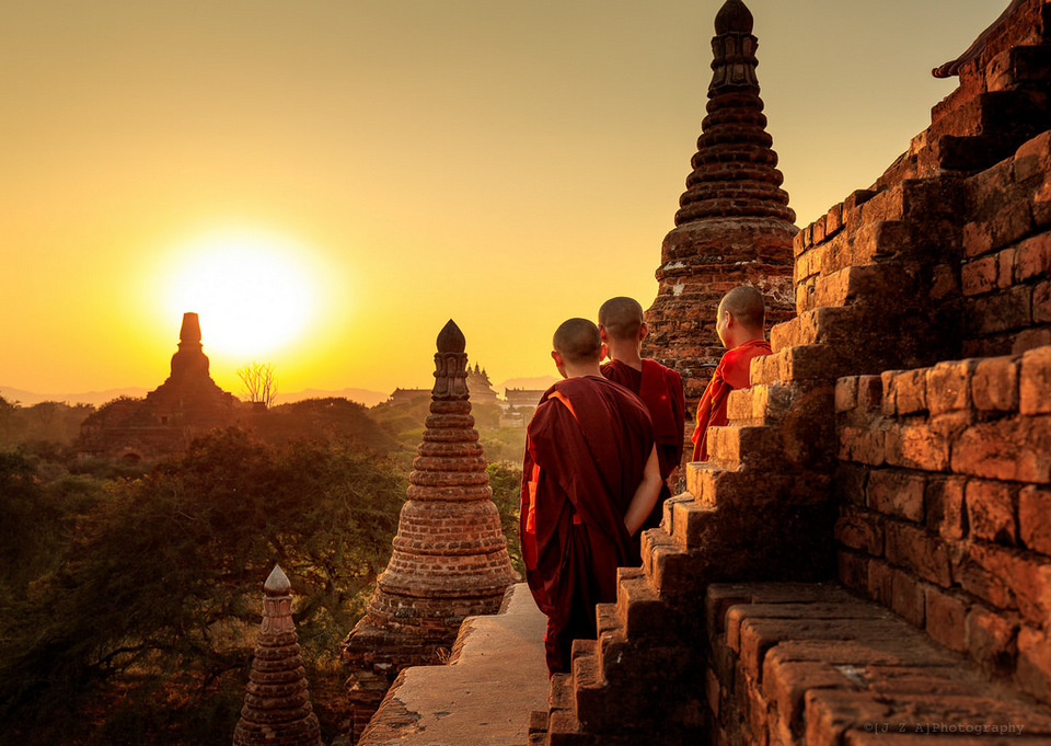 Monks watch the Sunset over Bagan