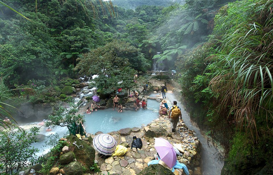 A wild hot spring in Yangming Shan Park in Taiwan.