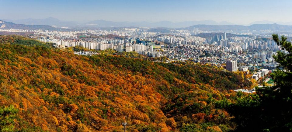 A view of the mountain and Seoul from high on Bugaksan