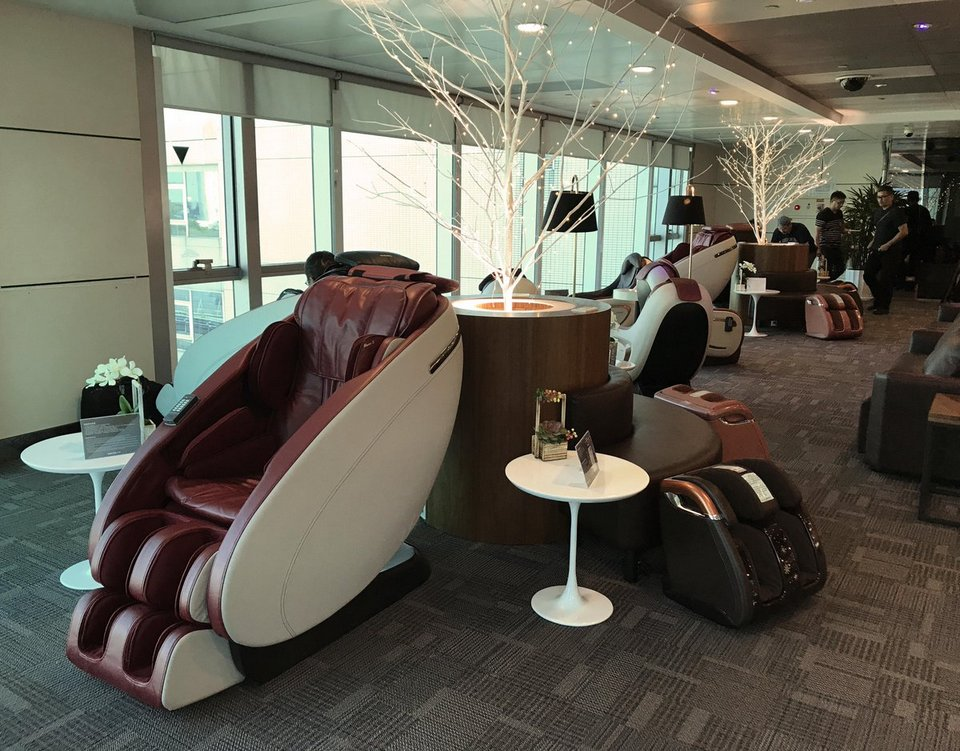 Try the body massage chairs at the back of C service desk of Terminal 2.