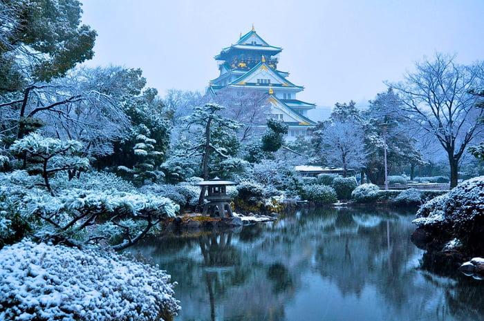 Osaka Castle In Winter