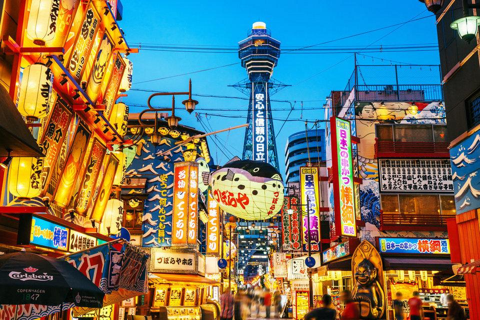 Osaka-Tower-and-Neon-Advertisements-Japan