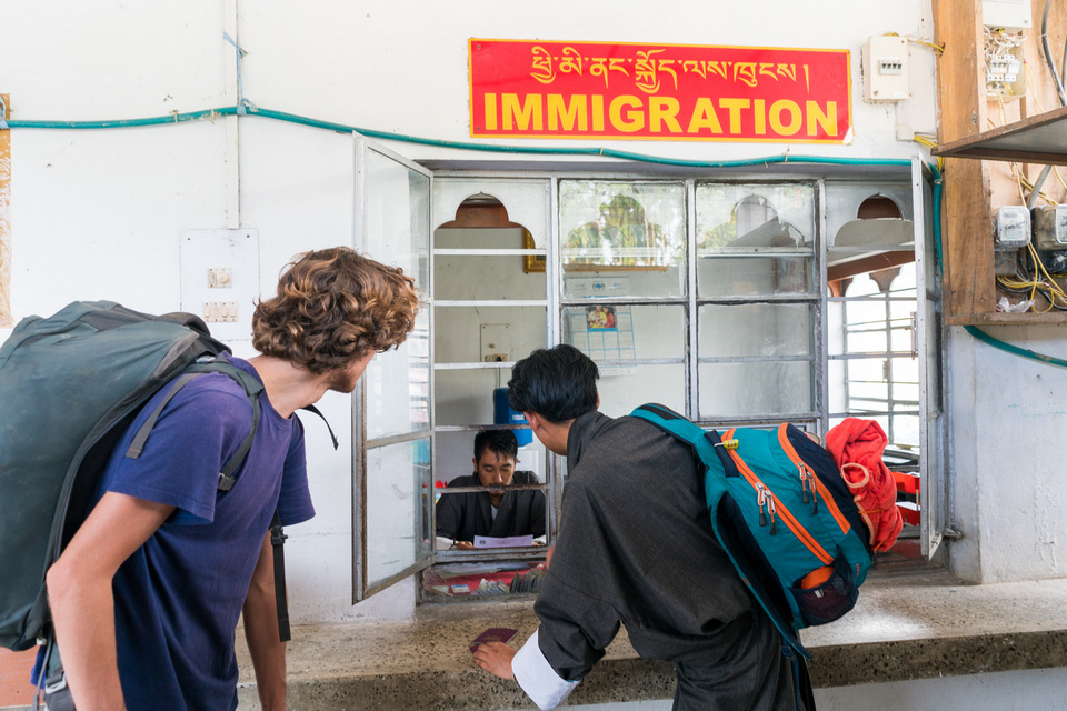 Passing through the immigration post at the India