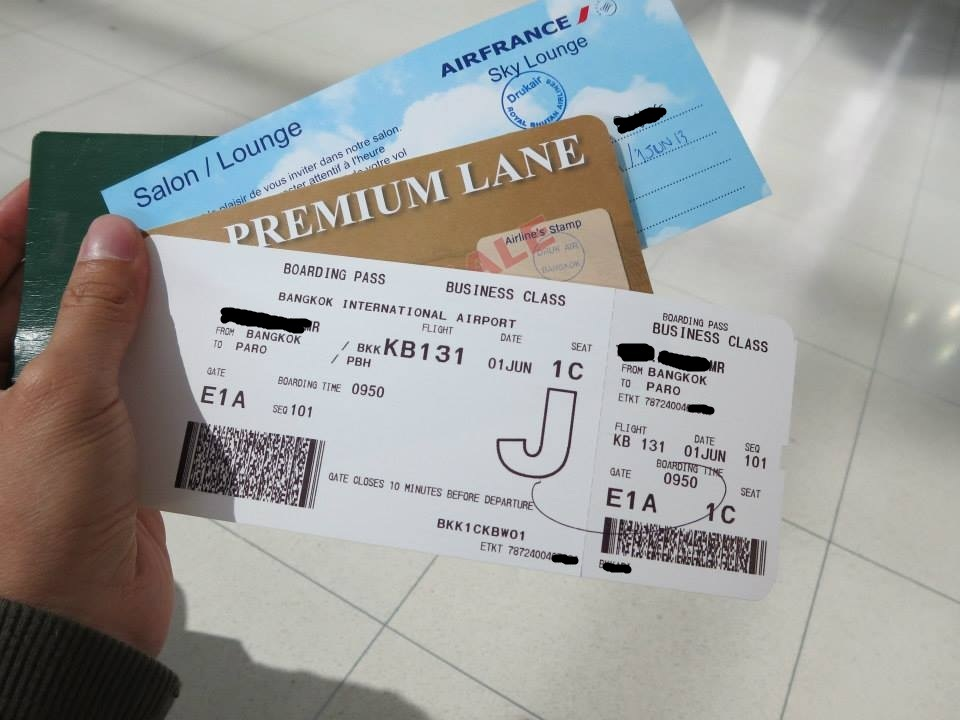 business class ticket from bangkok to paro