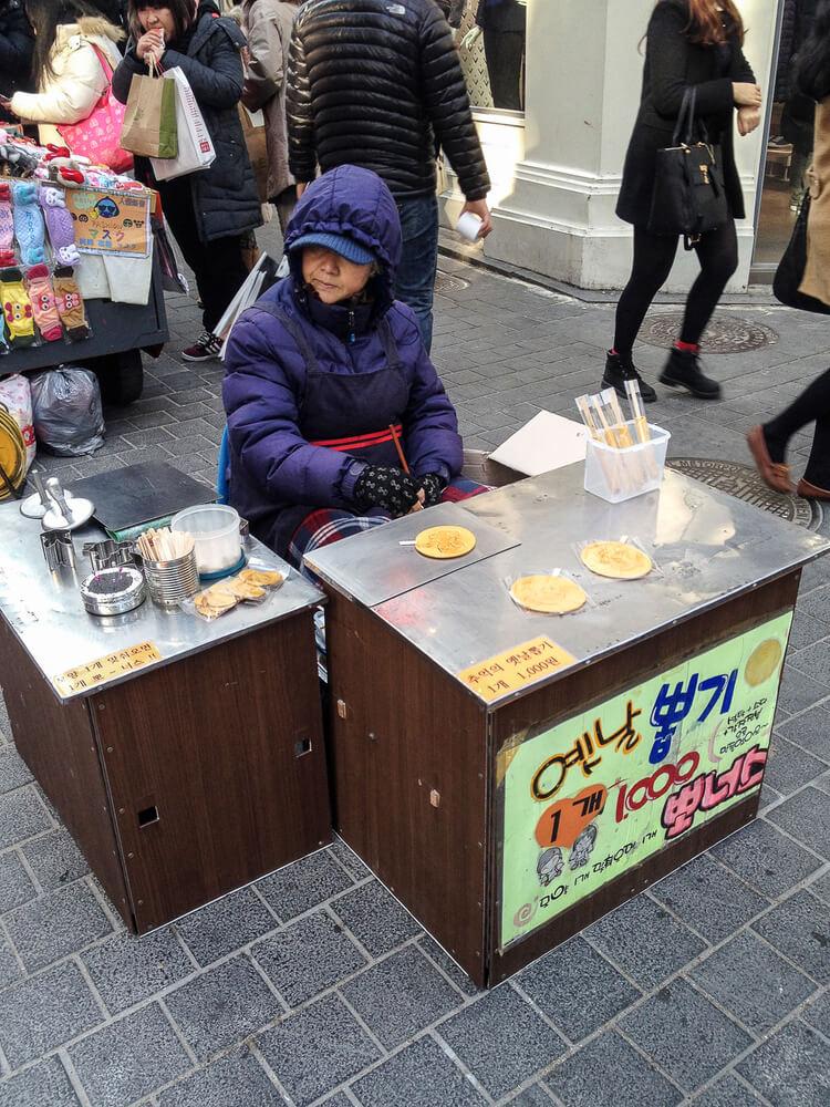 Korean street food bbopkki sugar lollipop