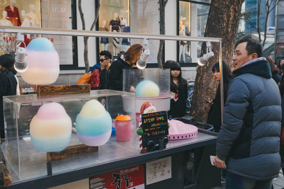 Korean street food cotton candy