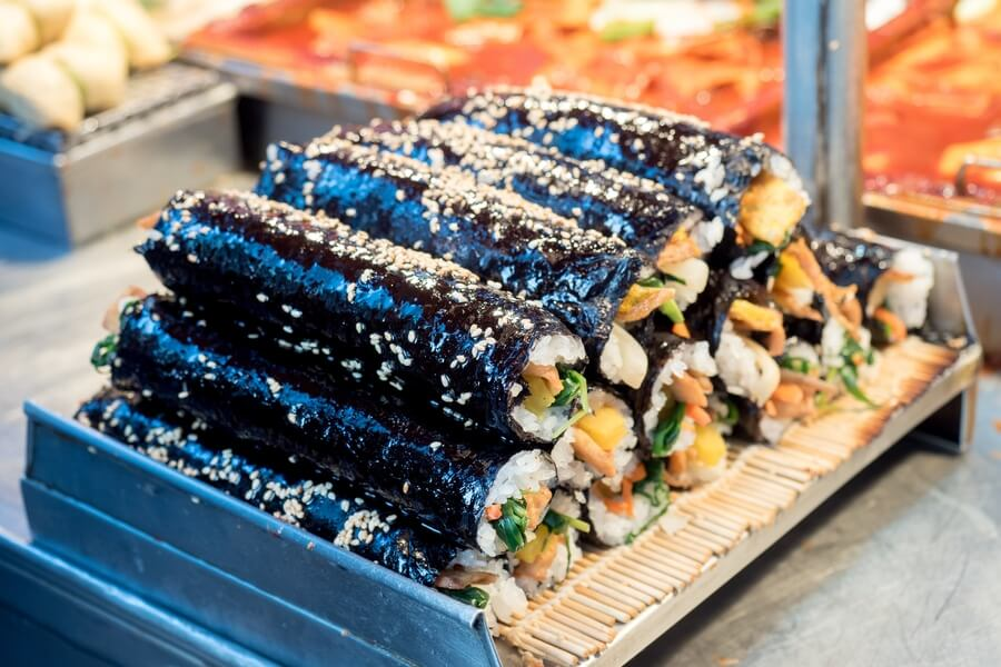 Korean street food gimbap
