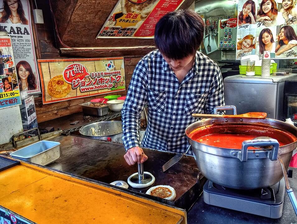 Korean street food hotteok sweet pancake