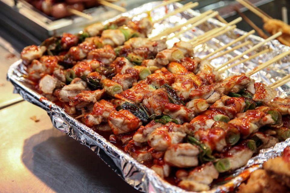 Korean street food Dakkochi chicken skewer