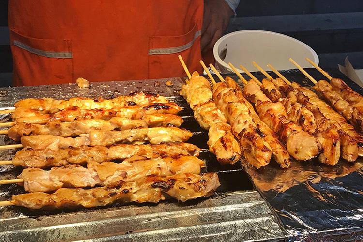 Korean street food takkochi chicken skewer