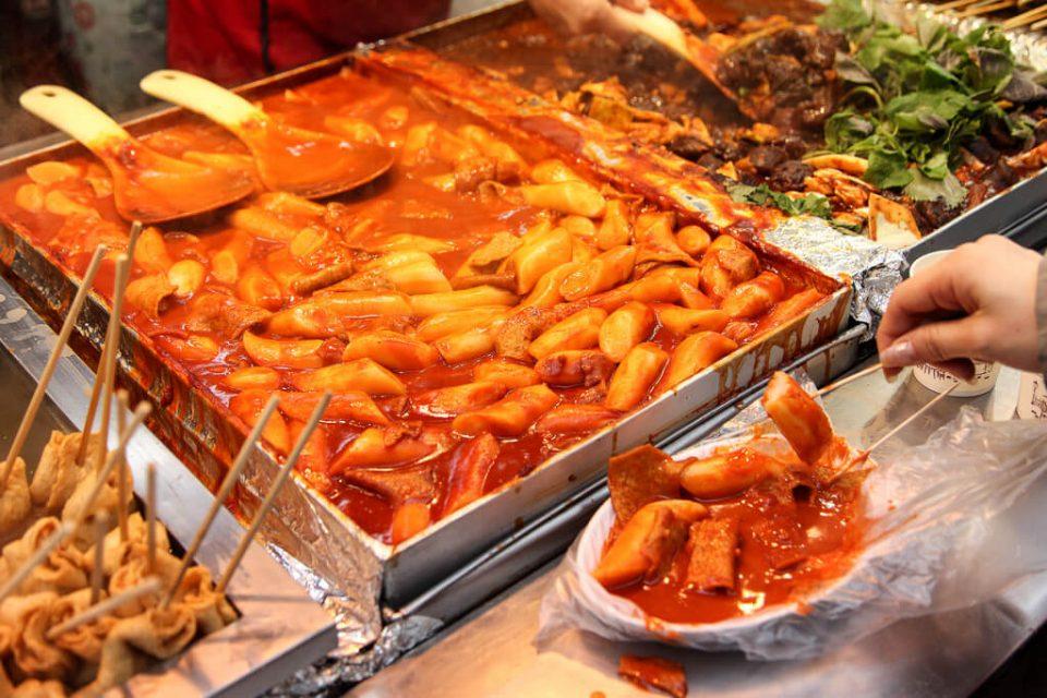 Korean street food tteokbokki spicy rice cake