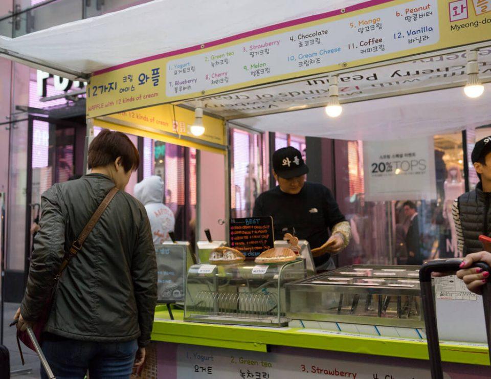 Korean street food waffle ice cream sandwich