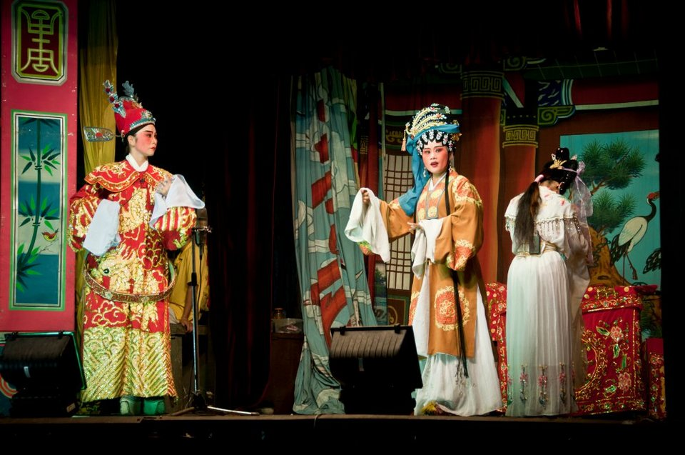Artists perform a Chinese opera.