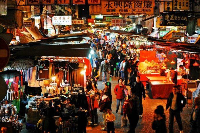 Bustling shopping street in HK.