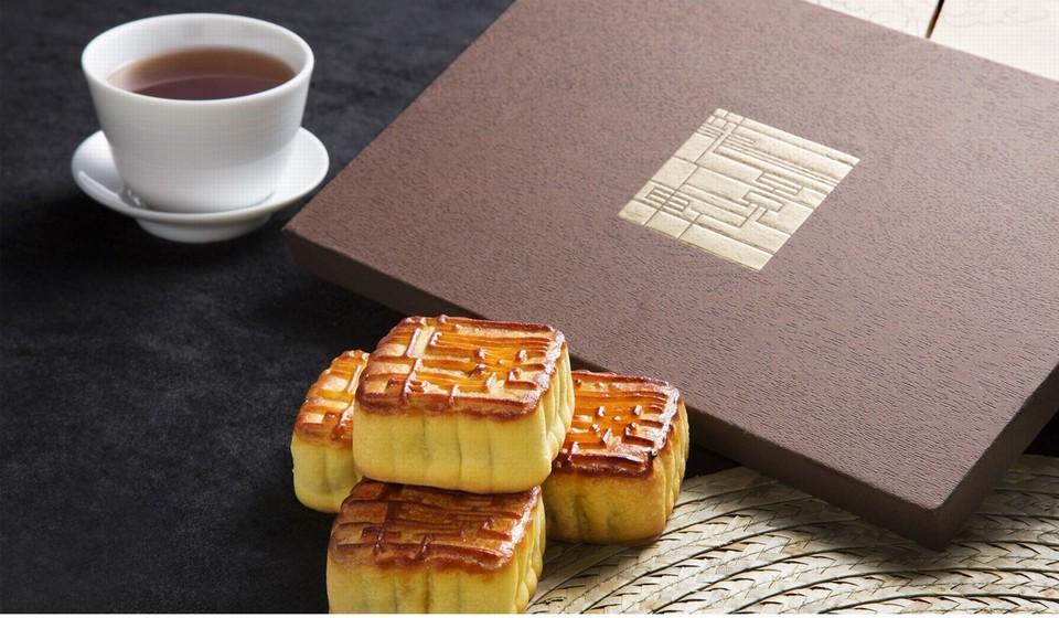 Lung King Heen's truffle and egg mooncakes.
