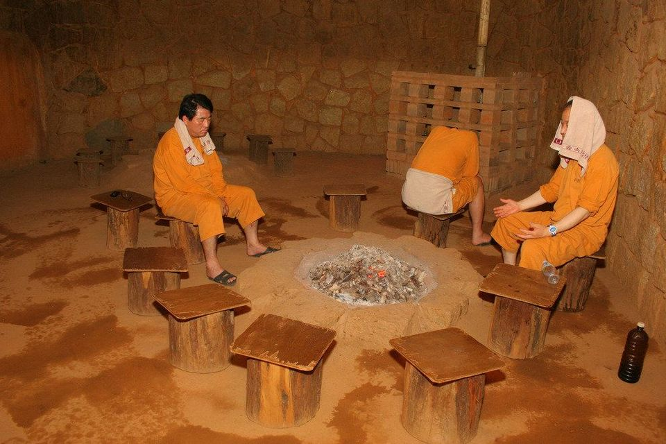 Inside a hot sauna in a Korean jjimjilbang