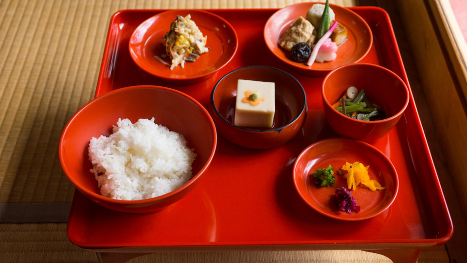 side dishes at Yudofu Restaurant in Ryoanji Zen Temple, Kyoto, Japan