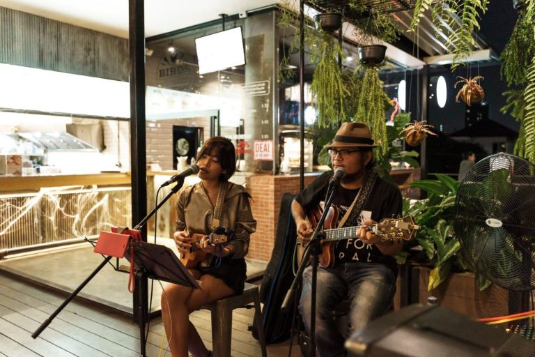 Live band at The Commons, Bangkok, Thailand