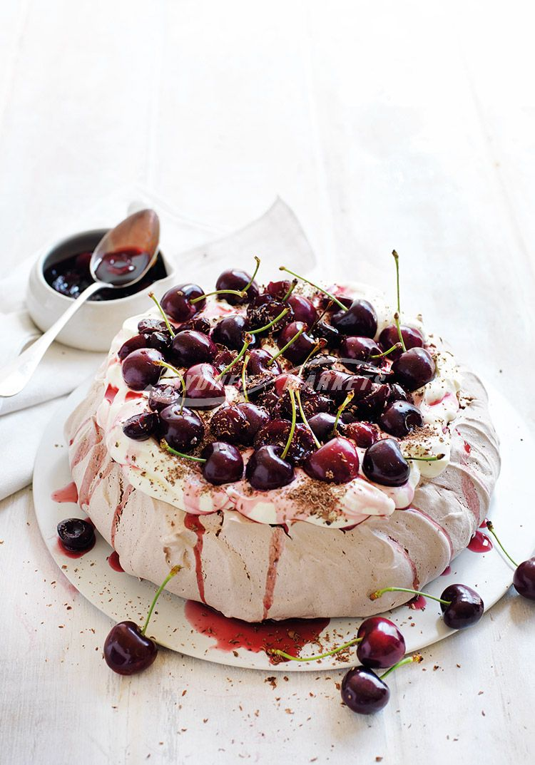 Cherry & chocolate pavlova