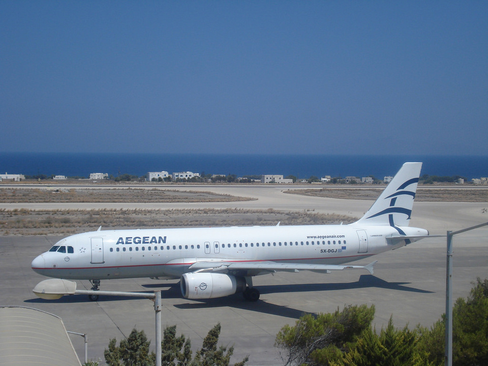 Aegean Airlines at santorini airport