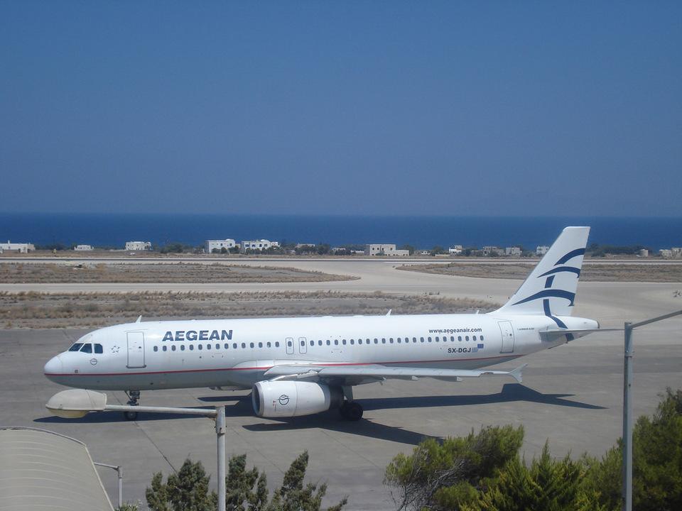 Aegean Airlines at santorini airport