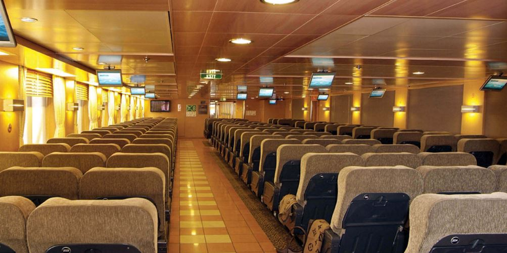 inside Blue Star Paros ferry cruise ship