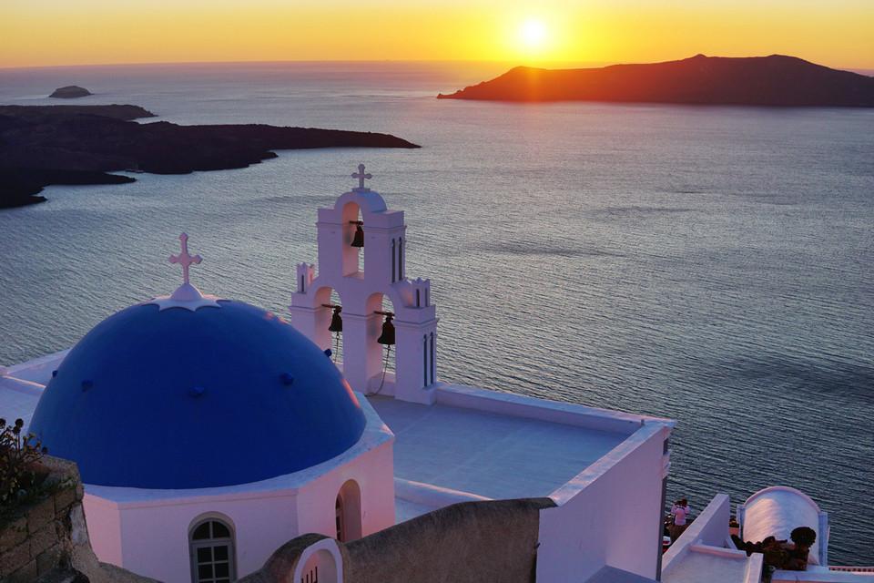Three Bells of Fira, blue dome, white buildings, Santorini, Greece