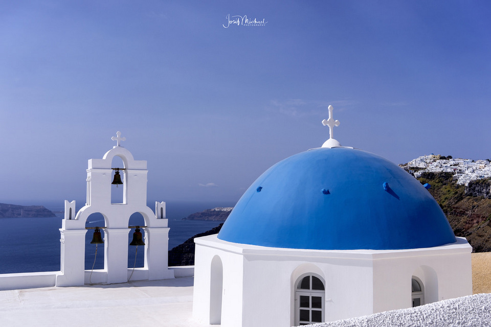 Three Bells of Fira, blue dome, white buildings, Santorini, Greece