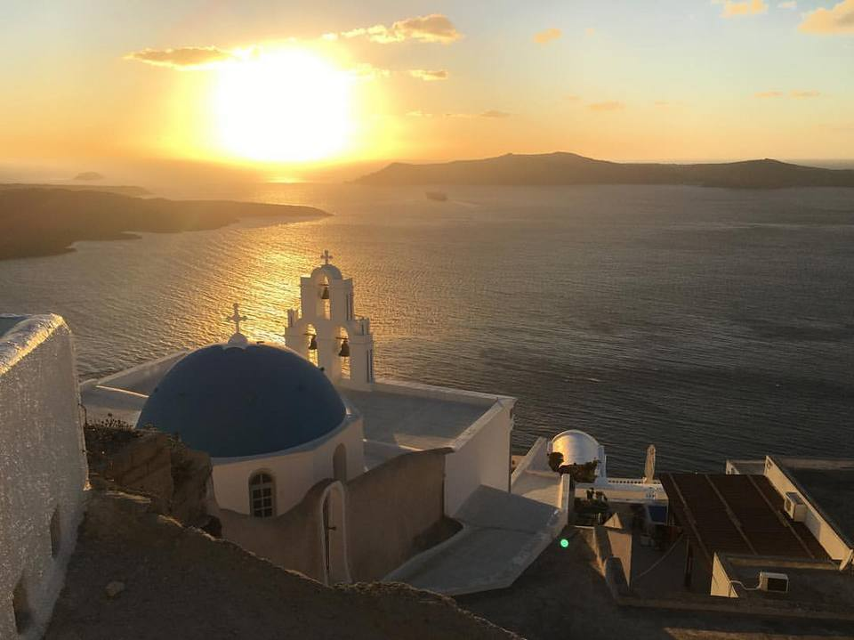 beautiful sunset Three Bells of Fira