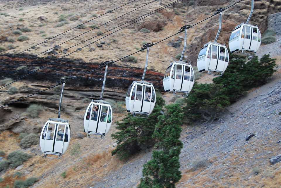 Cable car to the old port, Fira, Santorini, Greece.