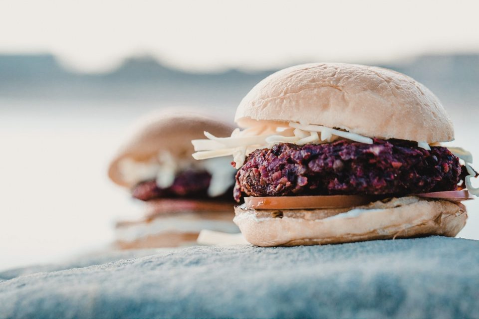Beetroot and Lentil Burger with grilled pineapple