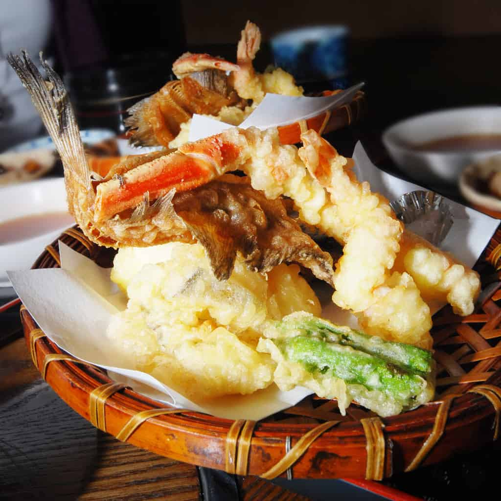Tempura are Japanese deep-fried foods of seafood and vegetables.