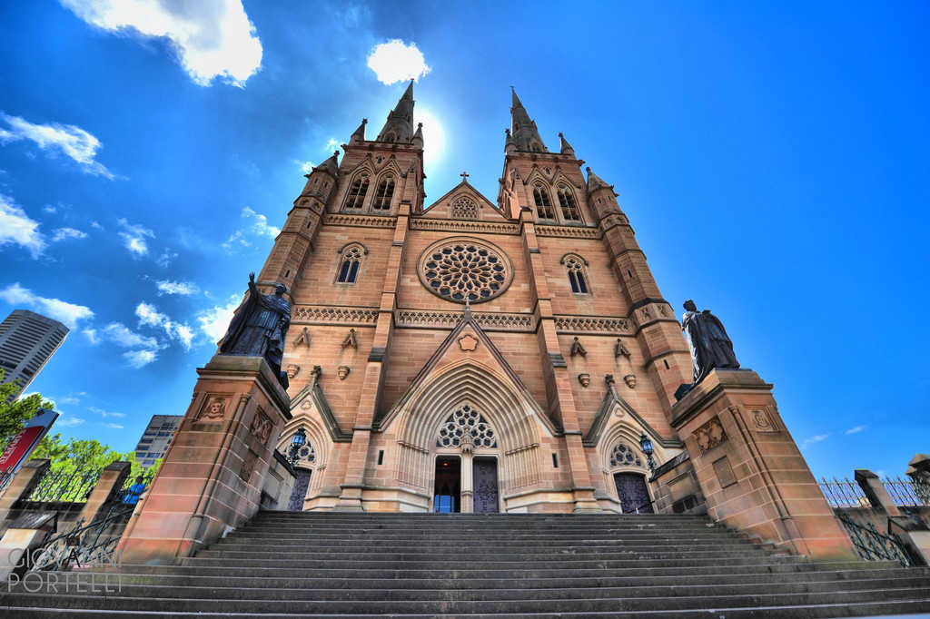 The church was built of sandstone with the characteristic architecture of medieval Europe.