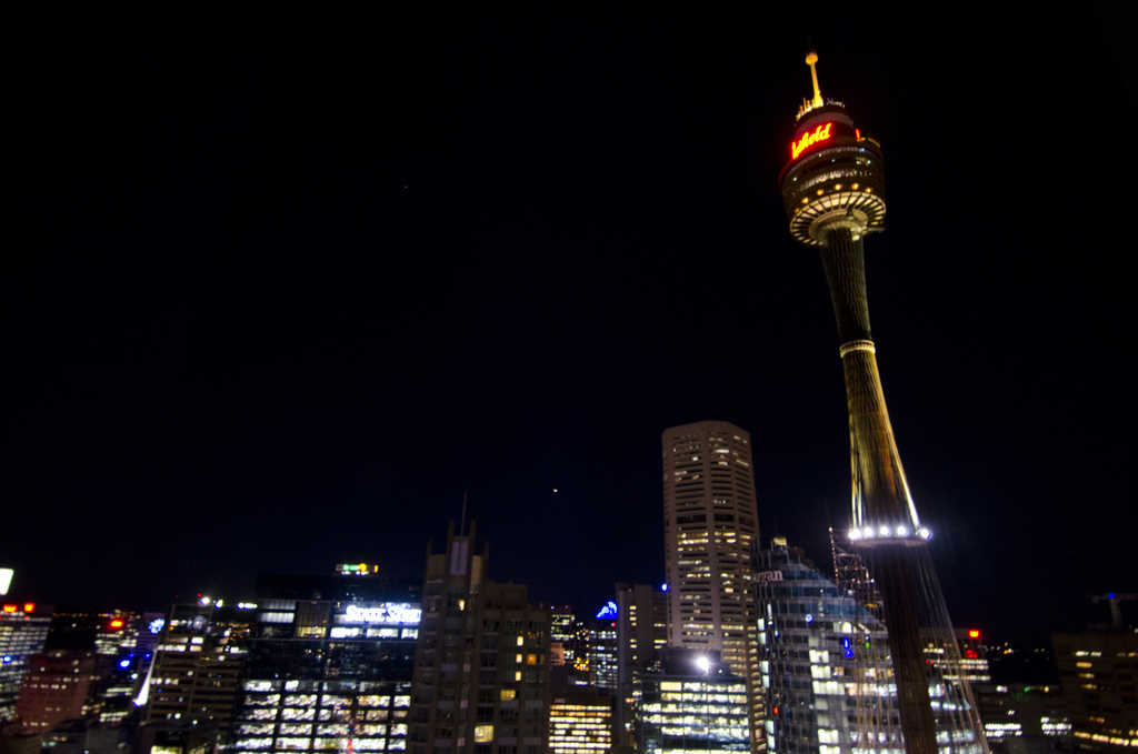 Sydney tower soaring in the panorama of Sydney.