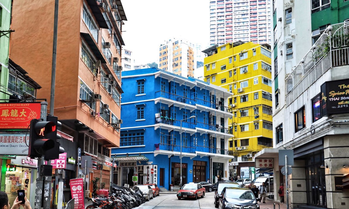 blue-house-wan-chai-district-cropped Three blue, yellow and orange houses are adjacent to each other and all have important meanings in Hong Kong' history.
