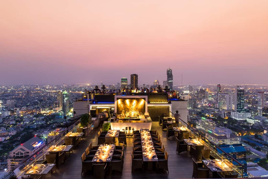 Banyan Tree is one of the impressive rooftop bar spaces with space and high-end, luxurious design.
