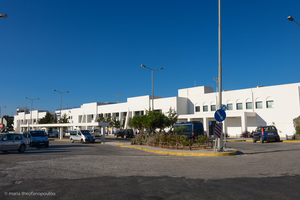 Car rental service outside Mykonos Airport
