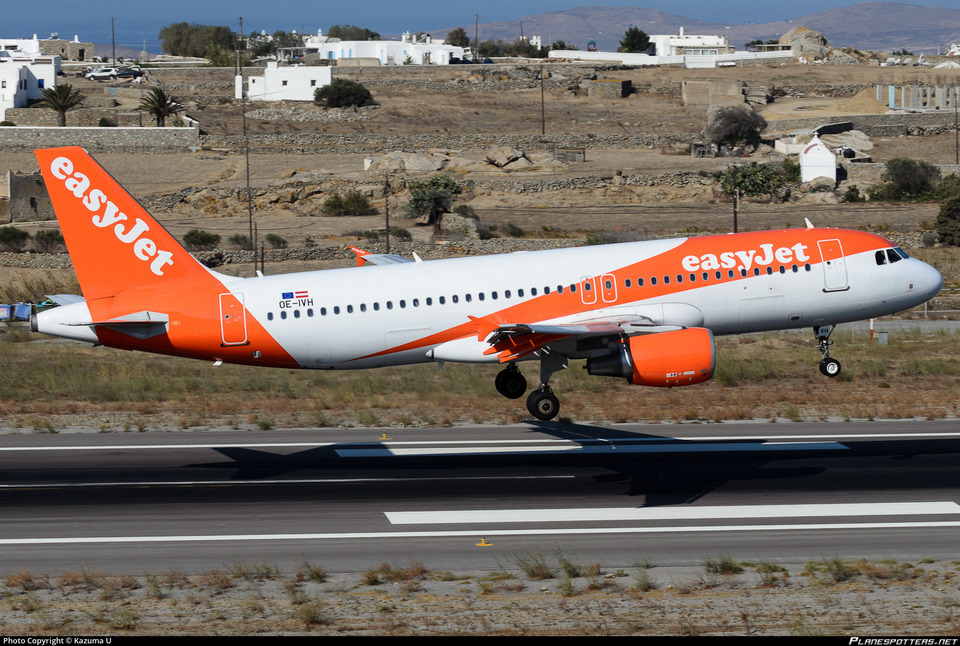 easyjet airline touch down at mykonos airport