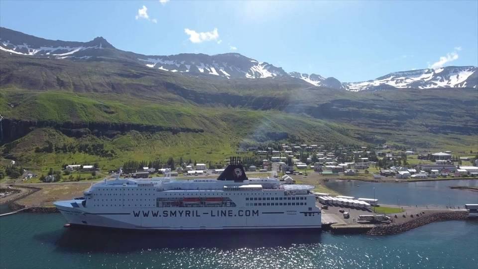 Smyril Line Norröna - Iceland to Denmark - Docked in Seydisfjordur Iceland