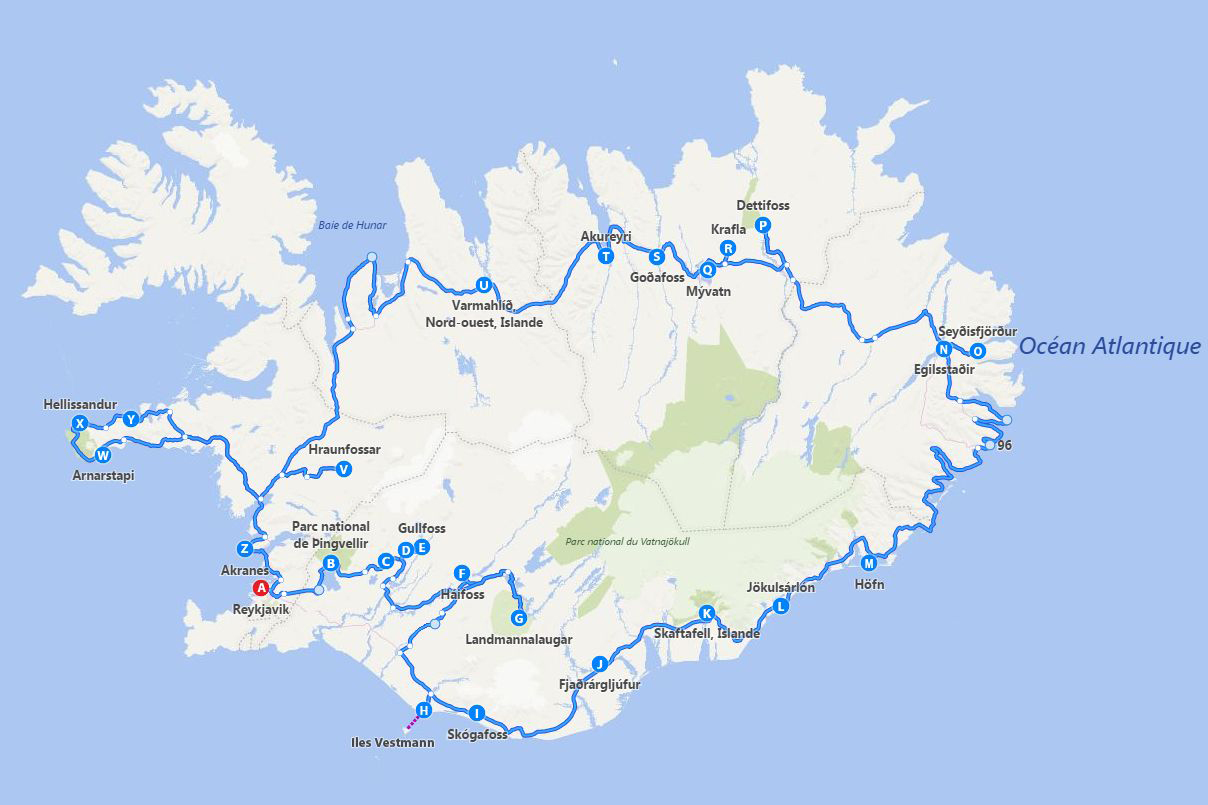 map suggested iceland itinerary for 17 days
