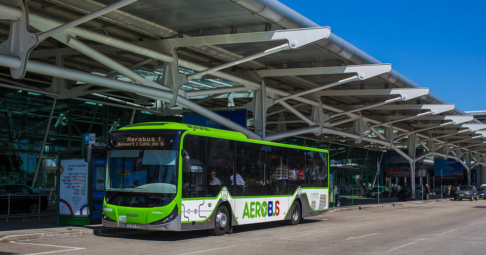 Lisbon airport Aerobus line 1 waiting on the platform.1