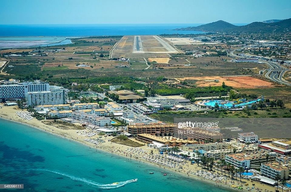 Aerial view of Ibiza airport and beach clubs
