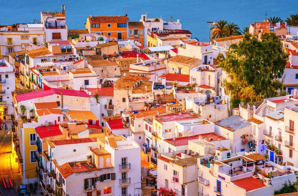 Colorful houses in Ibiza town