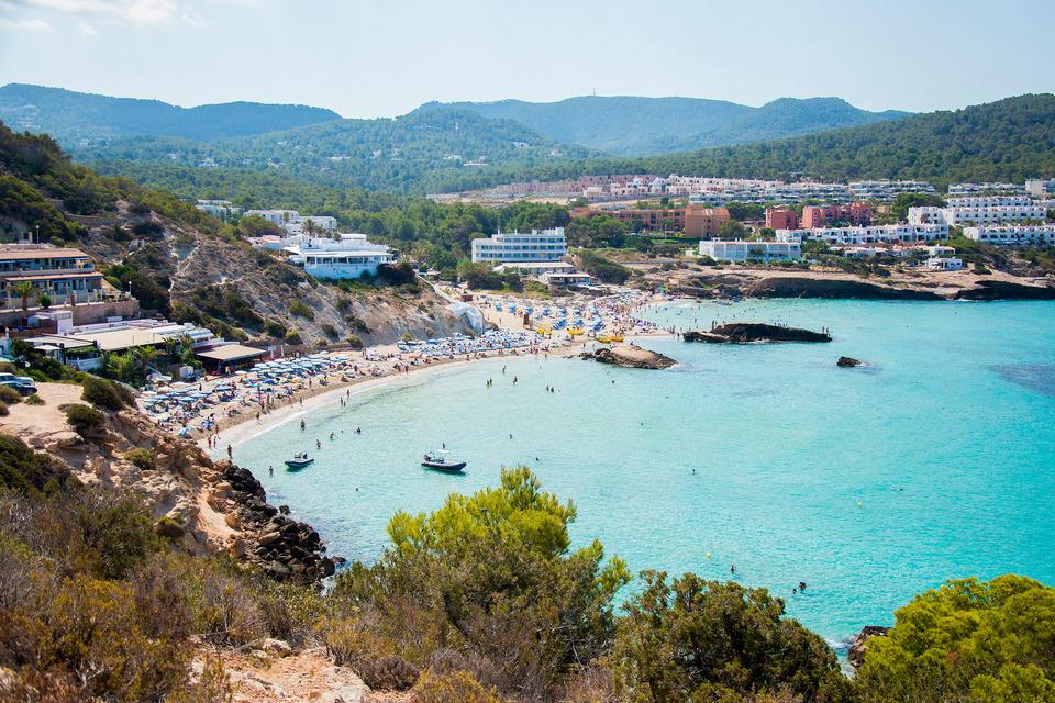 Panoramic view Cala-Tarida beach ibza