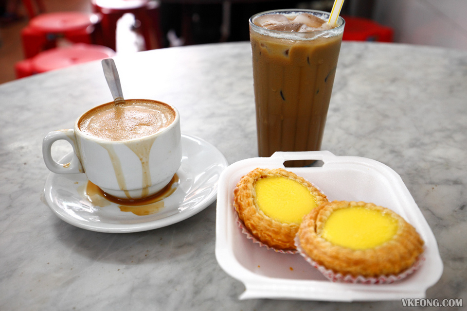 egg tarts and white coffee