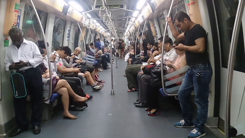 Inside the MRT train, Singapore