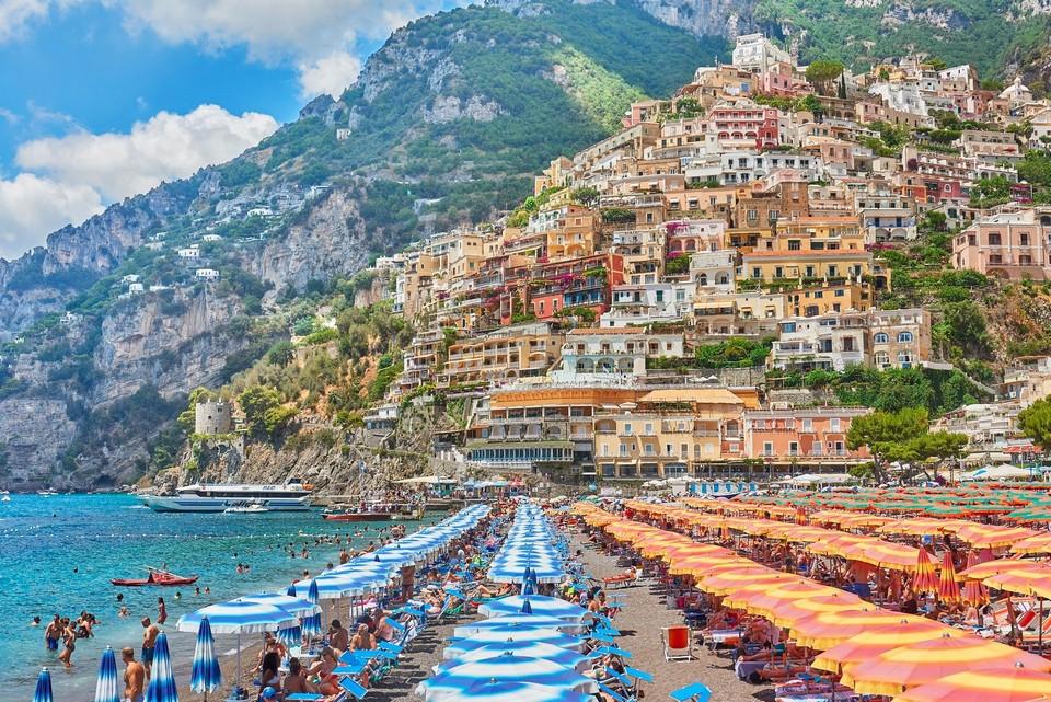 Positano has many beautiful beaches, number one is Marina Grande Beach, the sea bay is located near the city.