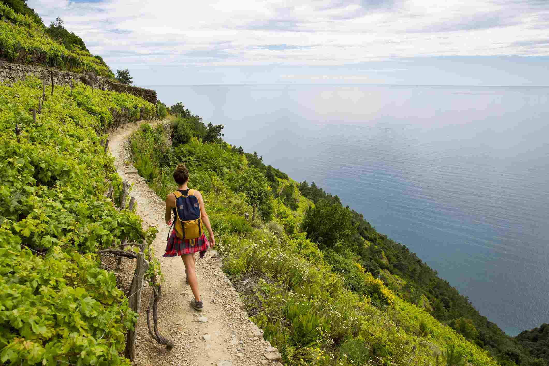 beautiful hiking trail in cinque terre