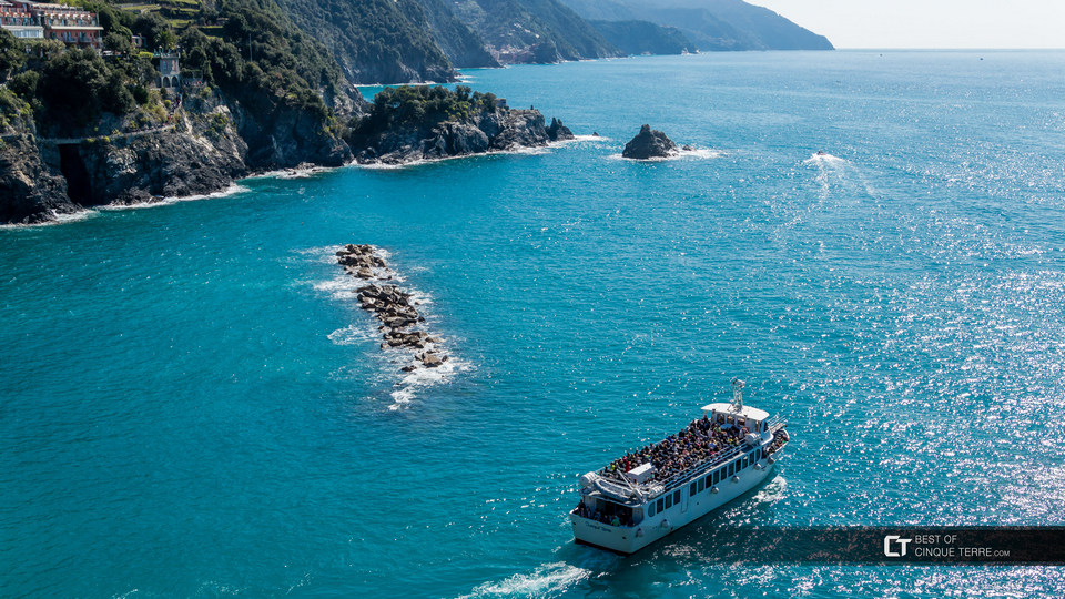 Boat in the Cinque Terre during peak season