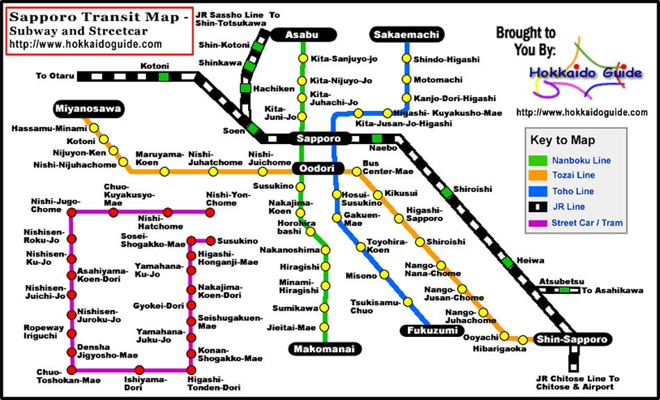 Sapporo Subway & Street Car Map